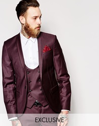 Noose And Monkey Suit Jacket With Shawl Lapel In Skinny Fit Burgundy