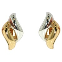 Finesse Two Tone Wave Shape Clip On Earrings Gold Silver