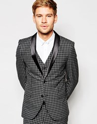 Selected Homme Exclusive Tonal Check Tuxedo Suit Jacket In Skinny Fit Grey