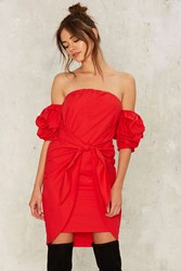 In The Bag Off The Shoulder Dress Red