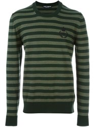 Dolce And Gabbana Striped Jumper Green