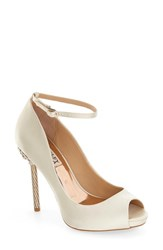 Badgley Mischka Women's 'Diego' Ankle Strap Pump Ivory Satin