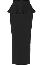 Issa Edith Stretch Woven Peplum Maxi Skirt Black
