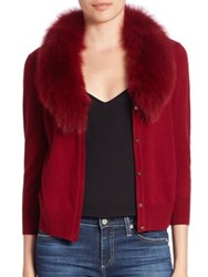 Milly Wool And Fox Fur Cardigan Bordeaux Black