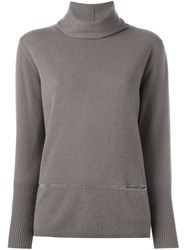 Fabiana Filippi Turtle Neck Jumper Brown
