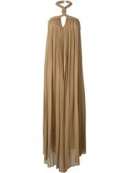 Jay Ahr Halterneck Evening Gown Nude And Neutrals