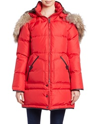 Pajar Convertible Coyote Fur Trimmed Quilted Coat Red