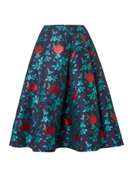 Endless Rose Fit And Flare Floral Printed Skirt Teal