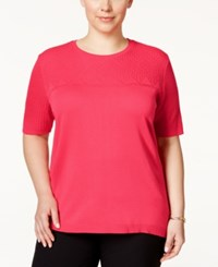 Alfred Dunner Plus Size Short Sleeve Stitched Sweater Carnation