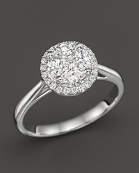 Bloomingdale's Diamond Cluster Halo Ring In 14K White Gold .45 Ct. T.W.