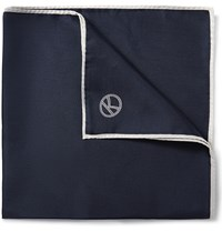 Kingsman Drake's Wool And Silk Blend Pocket Square Blue