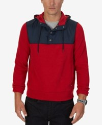 Nautica Men's Big And Tall Colorblocked Quarter Snap Hoodie Nautica Red