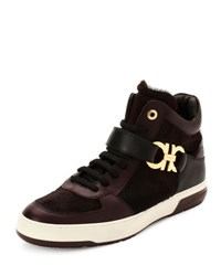 Salvatore Ferragamo Nayon 3 Calf Hair High Top Sneaker Wine