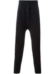 Isabel Benenato Drop Crotch Track Pants Black