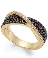 B. Brilliant Brown 5 8 Ct. T.W. And Clear Cubic Zirconia 1 5 Ct. T.W. Crossover Ring In 18K Gold Over Sterling Silver