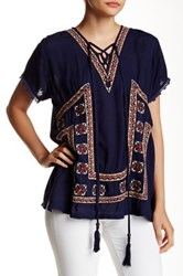 Romeo And Juliet Couture Short Sleeve Embroidered Blouse Blue