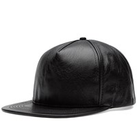 Saint Laurent Leather Cap Black