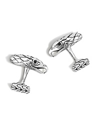 John Hardy Classic Chain Silver Eagle Head Cufflinks With Black Chalcedony Eyes Black Silver