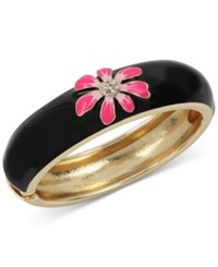 Betsey Johnson Gold Tone Black Enamel Flower Bangle Bracelet Black Pink