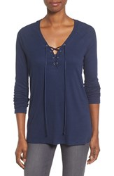 Pleione Women's Lace Up Top Navy Peacoat