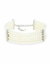Kenneth Jay Lane Five Row Pearly Beaded Collar Necklace White