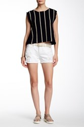 Articles Of Society Madre Distressed Denim Short Juniors White