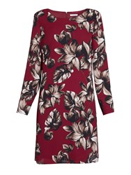 Gina Bacconi Etched Floral Crepe Georgette Dress Red