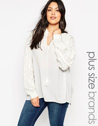 Carmakoma Textured Blouse With Tassle Neck Cream