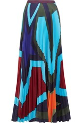 Mary Katrantzou Pelar Pleated Printed Crepe De Chine Maxi Skirt Royal Blue