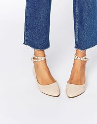 Daisy Street Nude Studded Ankle Strap Ballet Flat Shoes Beige