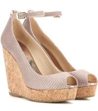 Jimmy Choo Pacific 120 Leather Wedge Sandals Pink