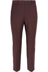 Theory Treeca 2 Cropped Wool Blend Slim Leg Pants Merlot
