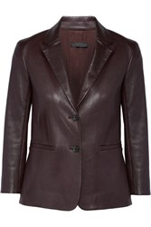 The Row Nolbon Bonded Stretch Leather Blazer Merlot