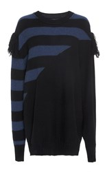 Sonia Rykiel Cashmere Stripes Unisex Sweater Blue