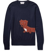 Michael Bastian Slim Fit Dachshund Intarsia Cashmere Sweater Navy