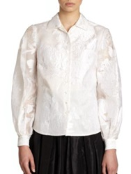 Carolina Herrera Night Collection Floral Jacquard Organza Blouse Natural White
