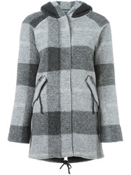 Woolrich Checked Hooded Coat Grey