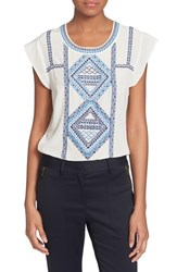Women's Veronica Beard 'Baja' Flutter Cap Sleeve Top