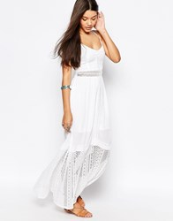 Abercrombie And Fitch Pretty Maxi Dress With Lace Hem White