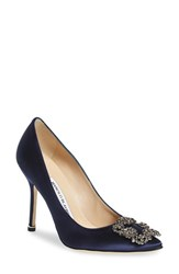 Manolo Blahnik Women's 'Hangisi' Jewel Pump Navy Satin