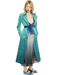 Burberry Suede And Patent Leather Trench Coat Teal