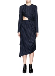 Acne Studios 'Elvia' Twist Front Pinstripe Gabardine Dress Blue