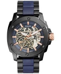 Fossil Men's Automatic Modern Machine Black Ion Plated Stainless Steel And Blue Silicone Bracelet Watch 45Mm Me3133 Black Blue