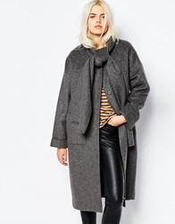 Monki Collarless Coat With Tie Neck Detail Grey