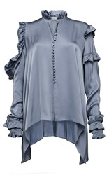 Magda Butrym Long Sleeve Ruffle Blouse Grey