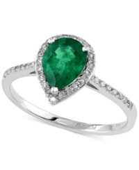 Effy Collection Brasilica By Effy Emerald 9 10 Ct. T.W. And Diamond 1 6 Ct. T.W. Pear Shaped Ring In 14K White Gold Green