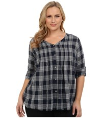 Dkny Plus Size Cotton Gauze Plaid Shirt Mood Indigo Women's Long Sleeve Button Up Navy