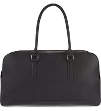 Reiss Lever Leather Weekend Holdall Black