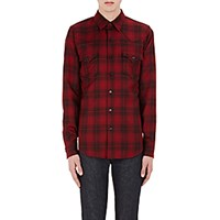 Saint Laurent Men's Plaid Woven Western Shirt Red No Color Red No Color