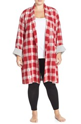 Plus Size Women's Lucky Brand Flannel Robe Red Bohemian Plaid